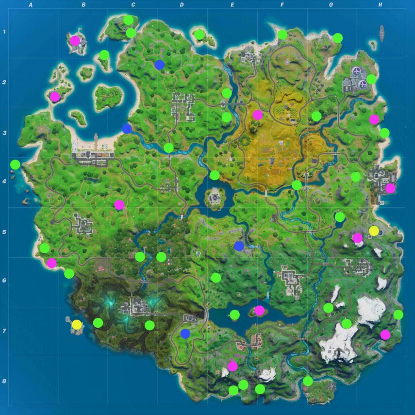 Fortnite-Mapa de monedas PE desafíos de midas