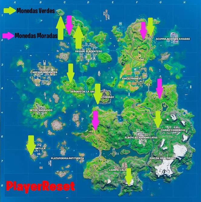 Fortnite - Ubicación de Las Monedas XP - Mapa