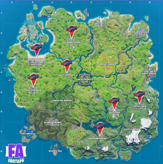 Fortnite ubicación de autos