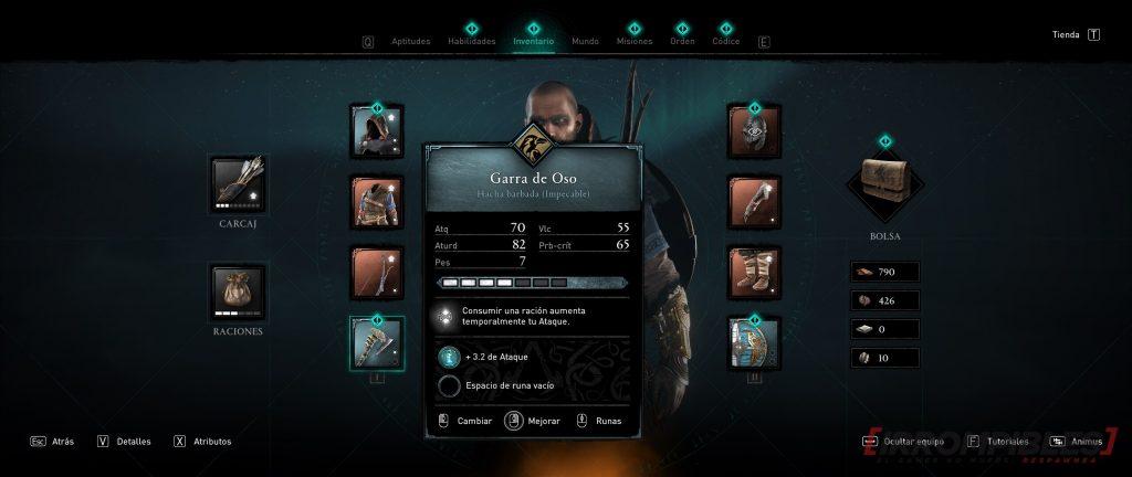 Assassin's Creed Valhalla armamento y equipo