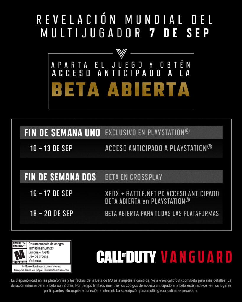 fecha Beta call of duty vanguard